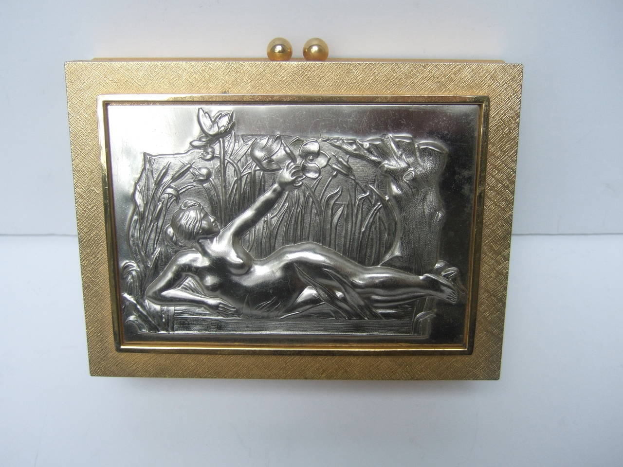 Exquisite gilt metal evening bag designed by Harry Rosenfeld c 1970