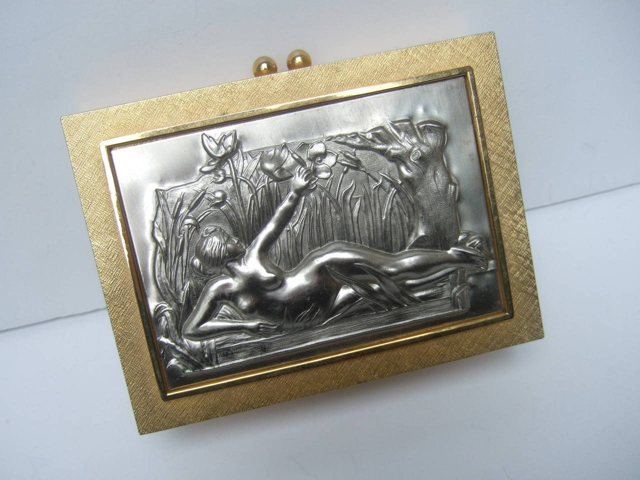 Exquisite Italian Gilt Metal Evening Bag Designed by Harry Rosenfeld For Sale 1
