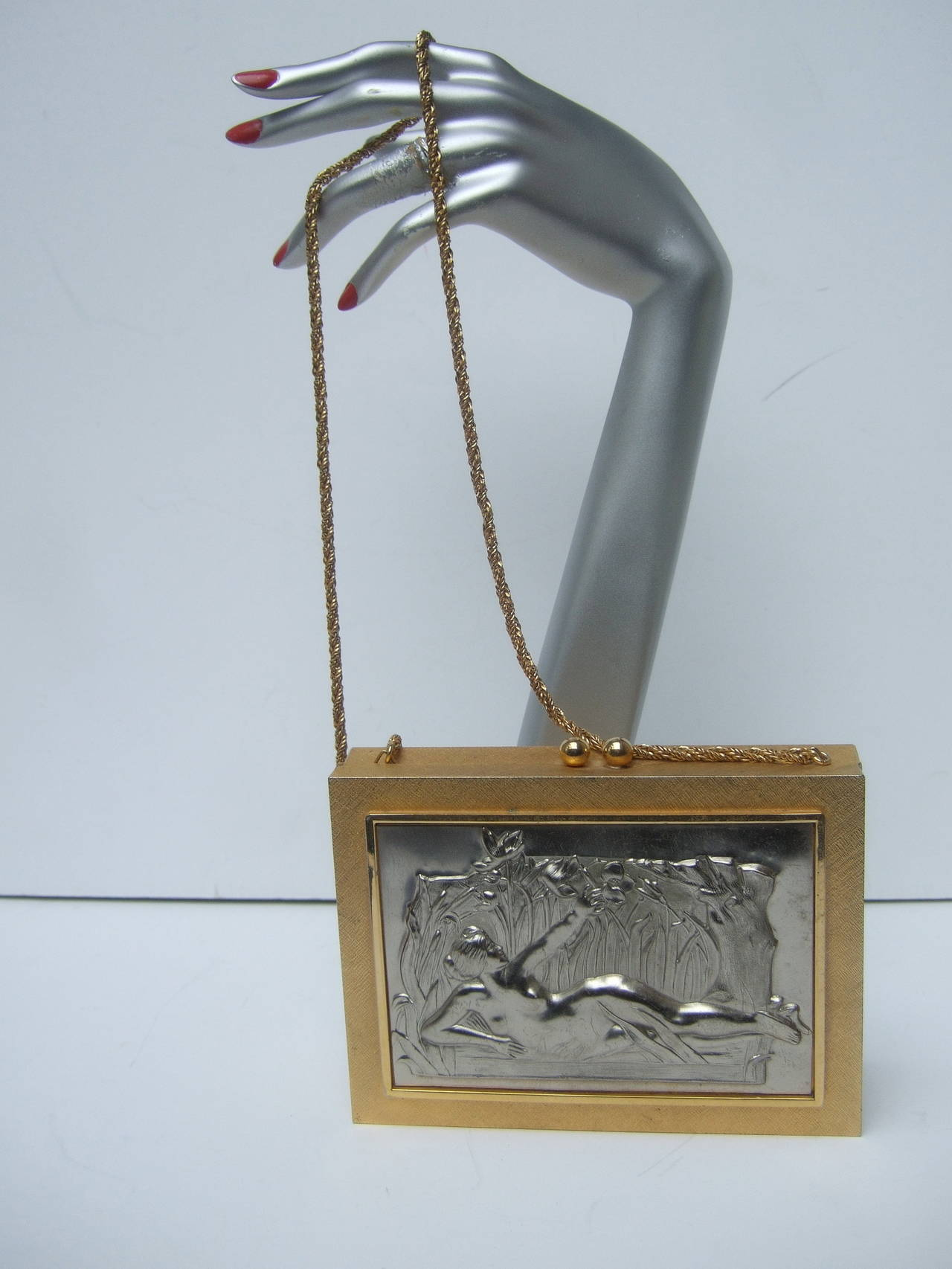 Exquisite Italian Gilt Metal Evening Bag Designed by Harry Rosenfeld In Good Condition For Sale In Santa Barbara, CA