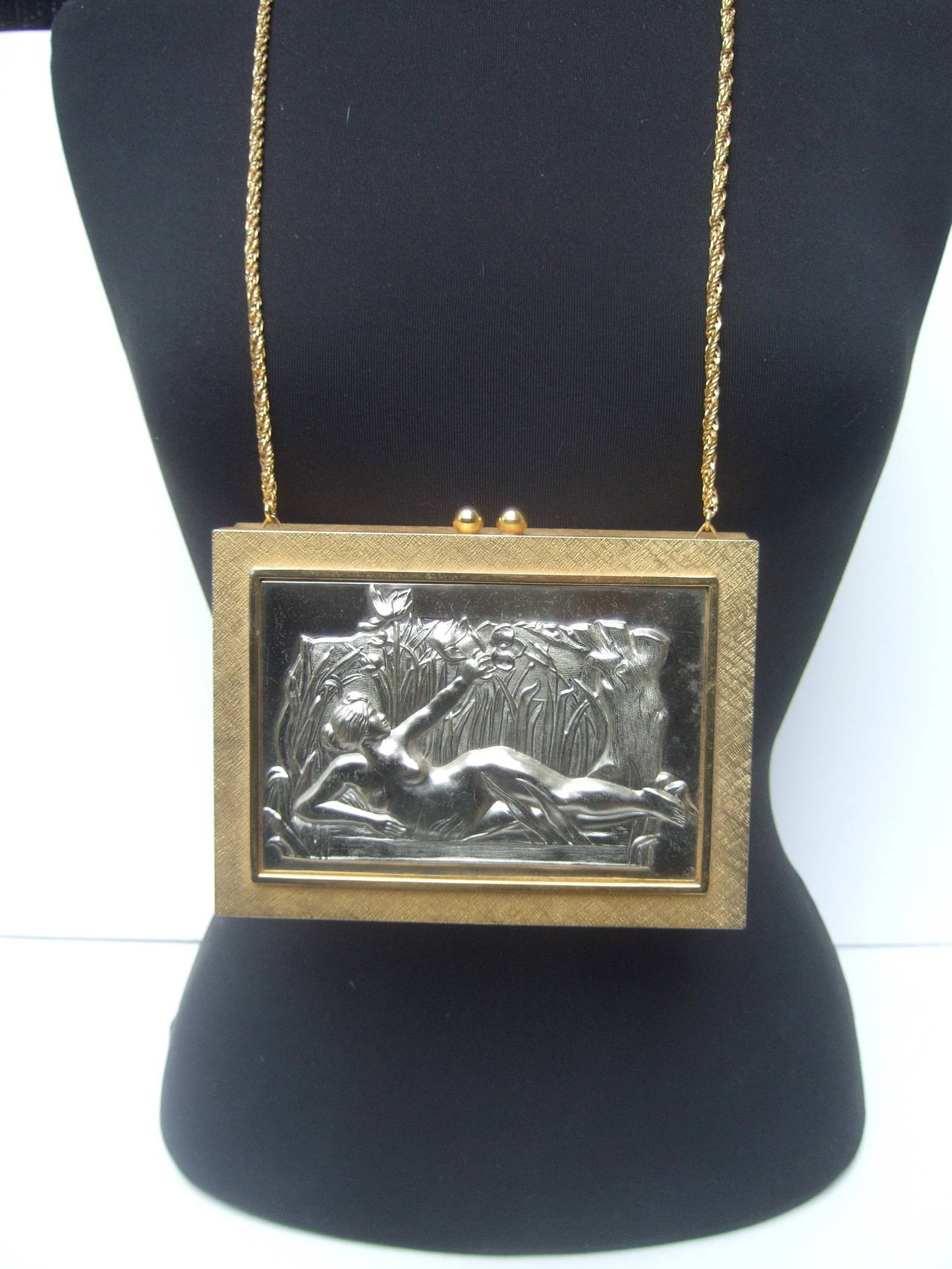 Exquisite Italian Gilt Metal Evening Bag Designed by Harry Rosenfeld For Sale 2
