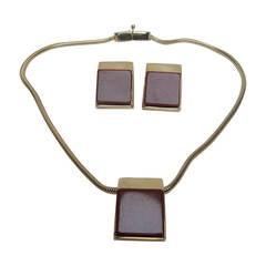 Pierre Cardin Sleek Cinnabar Resin Necklace & Earrings c 1970