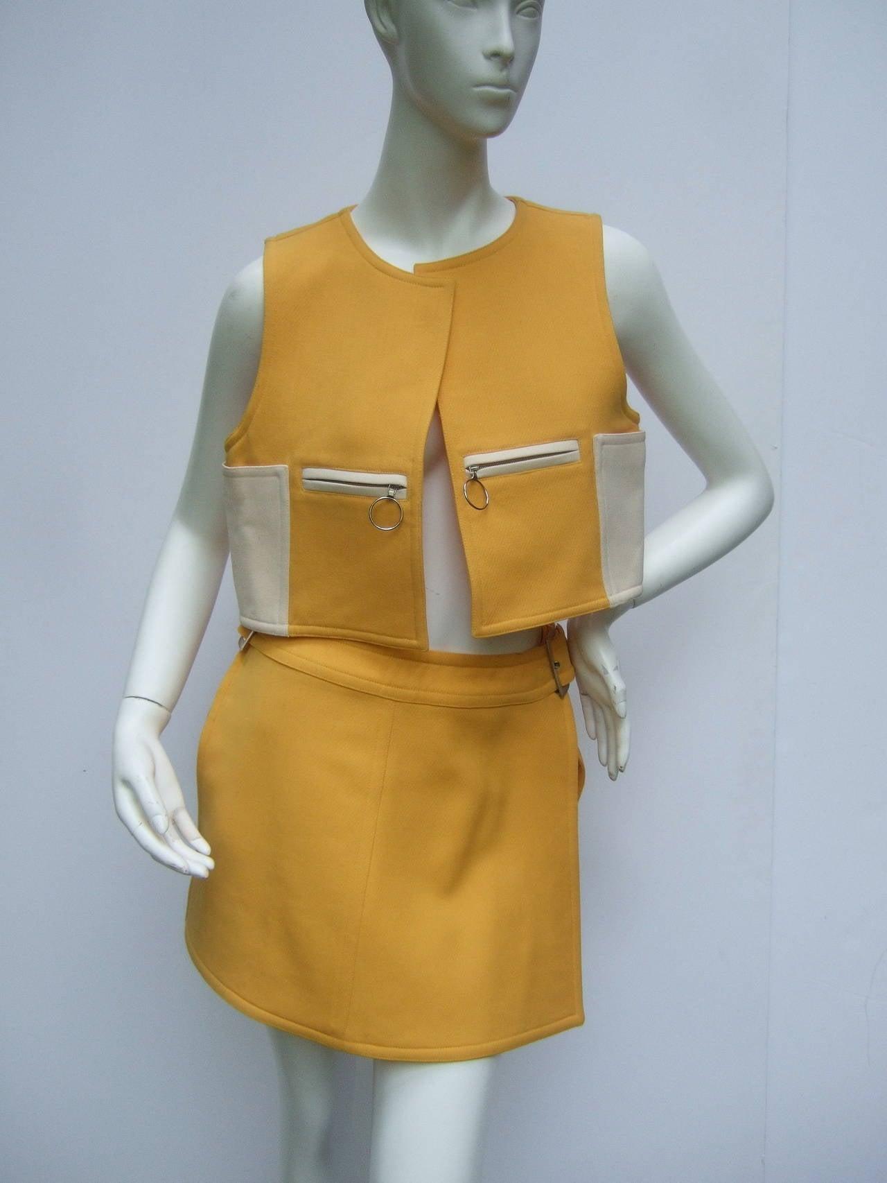 Courreges Paris Mod Wool Vest & Skirt Ensemble c 1970 2