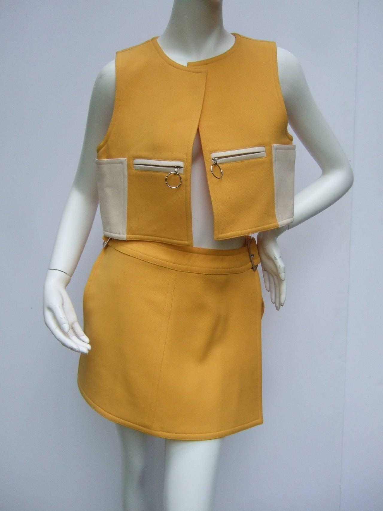 Courreges Paris Mod Wool Vest & Skirt Ensemble c 1970 8