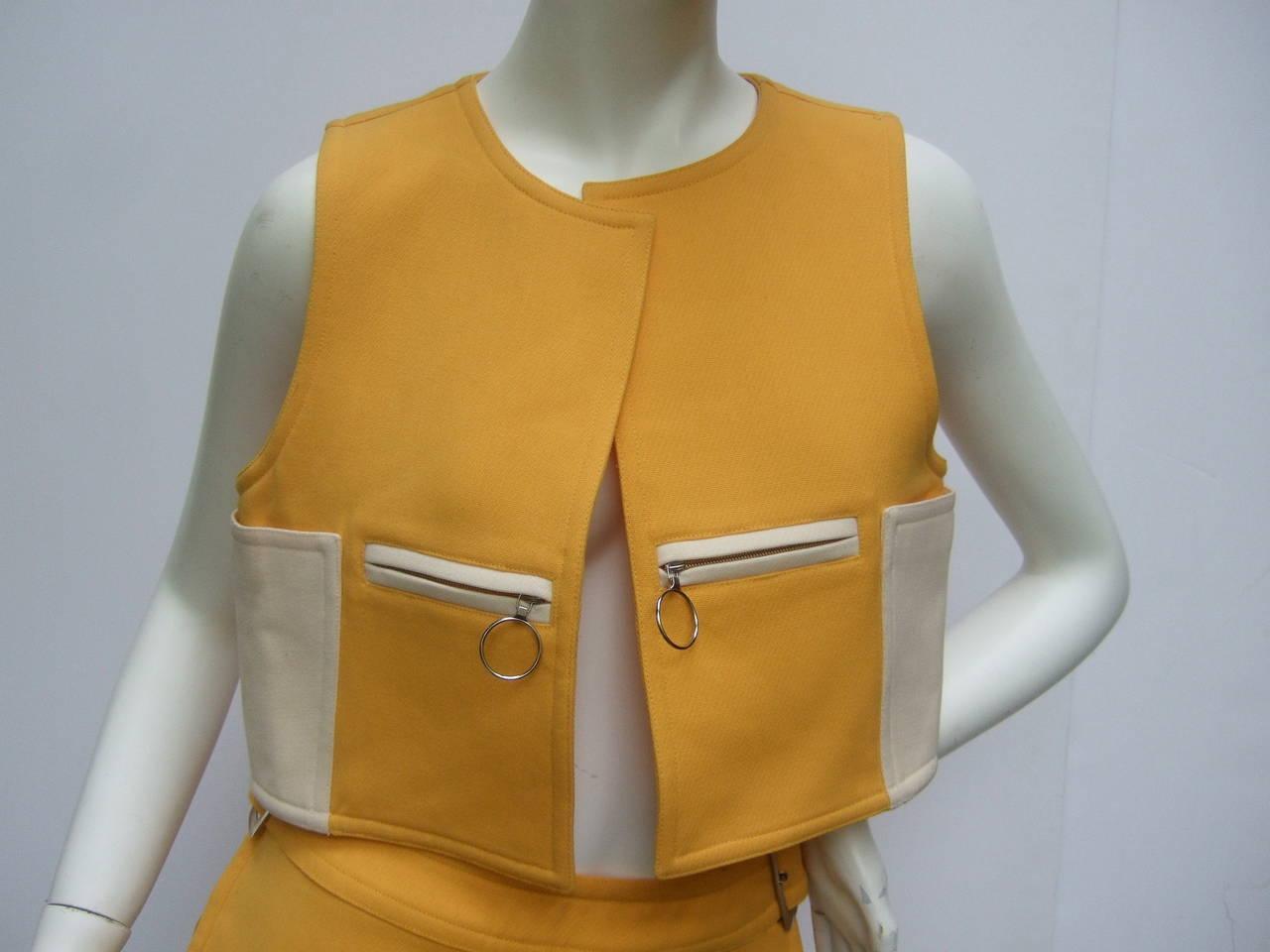 Courreges Paris Mod Wool Vest & Skirt Ensemble c 1970 3