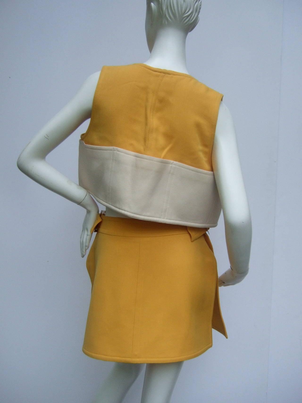Courreges Paris Mod Wool Vest & Skirt Ensemble c 1970 5