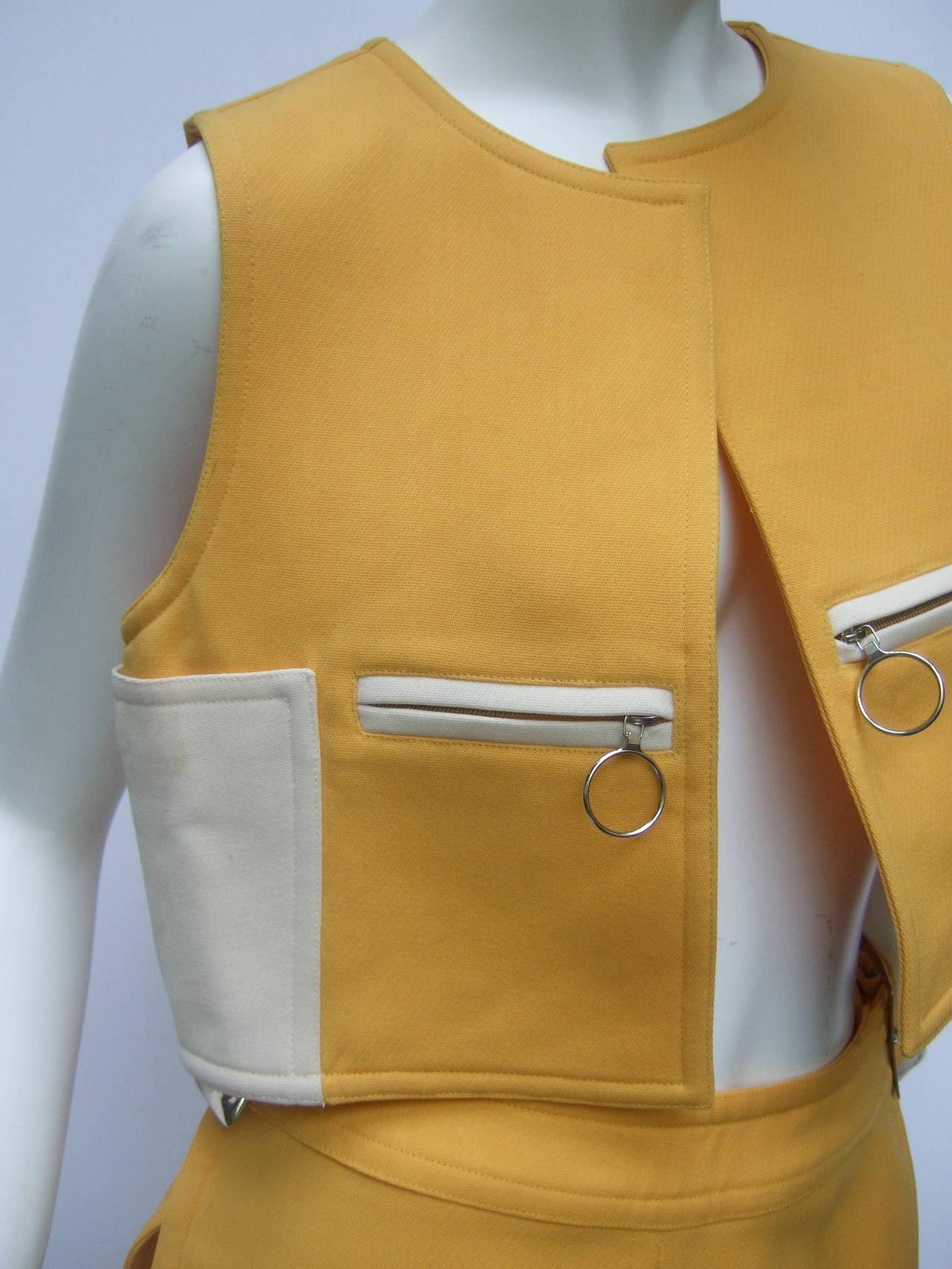 Courreges Paris Mod Wool Vest & Skirt Ensemble c 1970 7
