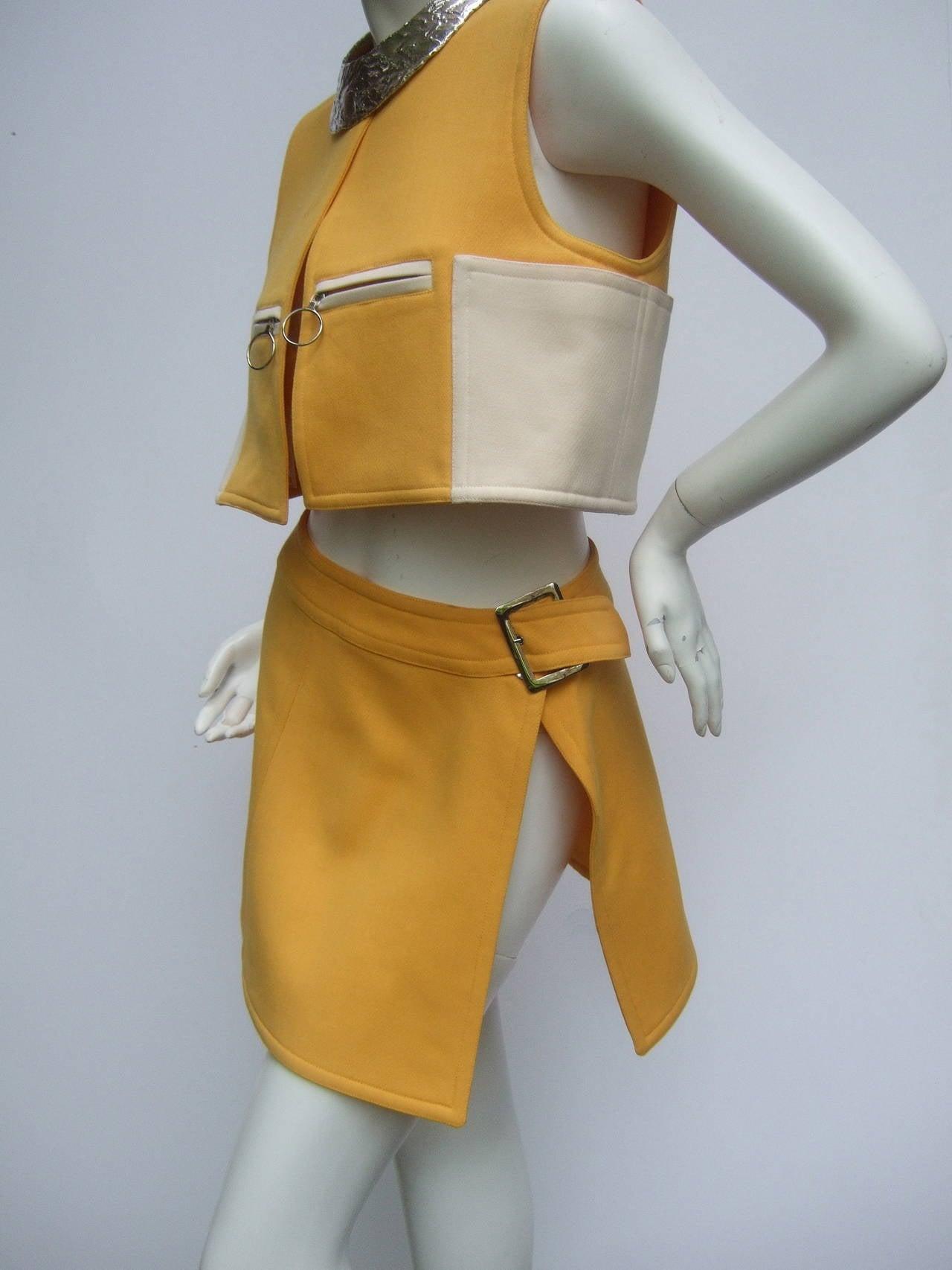 Courreges Paris Mod Wool Vest & Skirt Ensemble c 1970 6