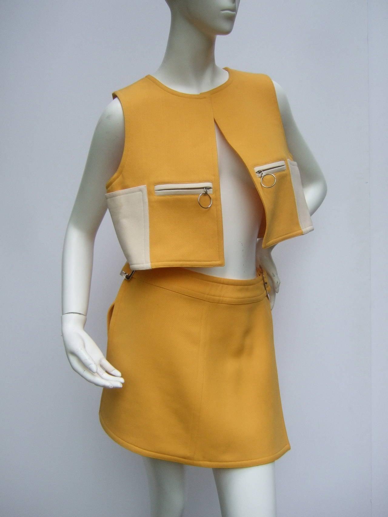 Courreges Paris Mod Wool Vest & Skirt Ensemble c 1970 4