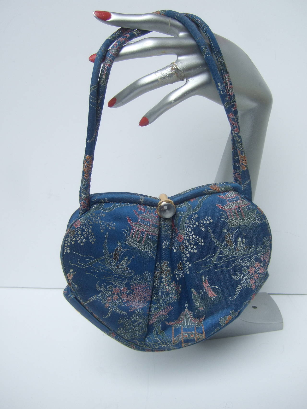 Saks Fifth Avenue Blue Satin Chinoiserie Handbag c 1960 For Sale ...
