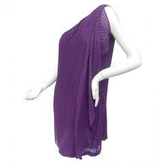 Halston Heritage Violet Silk One Shoulder Dress US Size 8