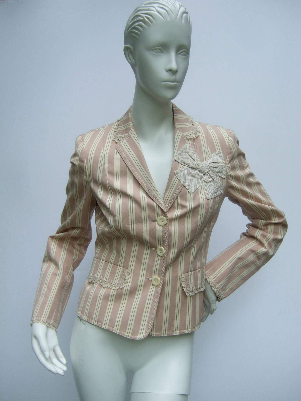 Gray Moschino Cotton Awning Striped Jacket US Size 8 For Sale