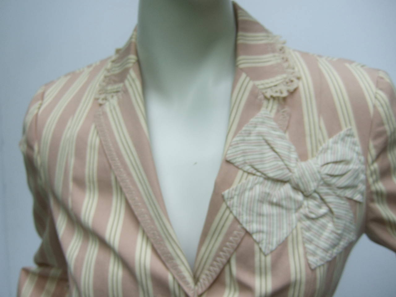 Moschino Cotton Awning Striped Jacket US Size 8 In Excellent Condition For Sale In Santa Barbara, CA