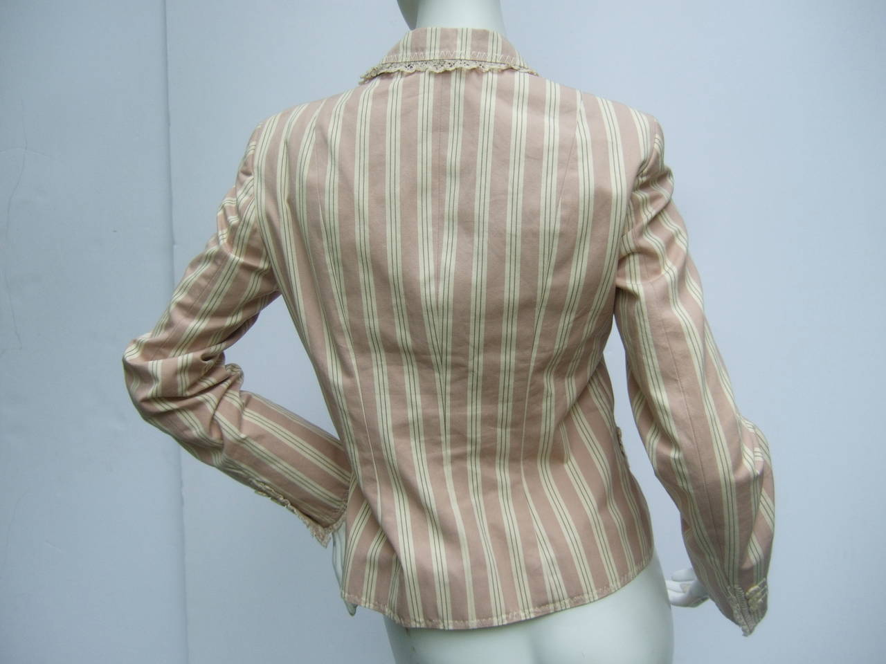 Moschino Cotton Awning Striped Jacket US Size 8 For Sale 2