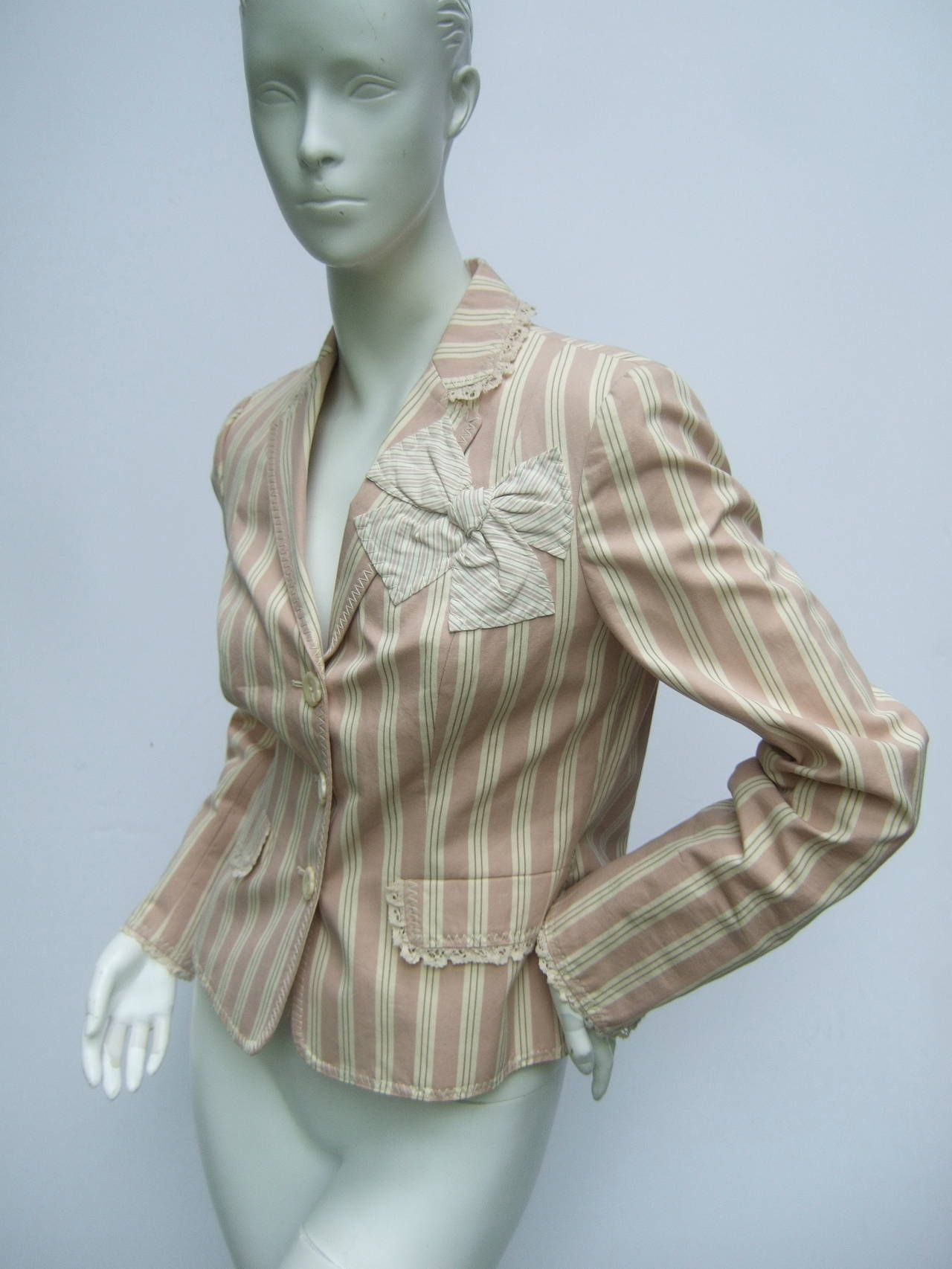 Women's Moschino Cotton Awning Striped Jacket US Size 8 For Sale