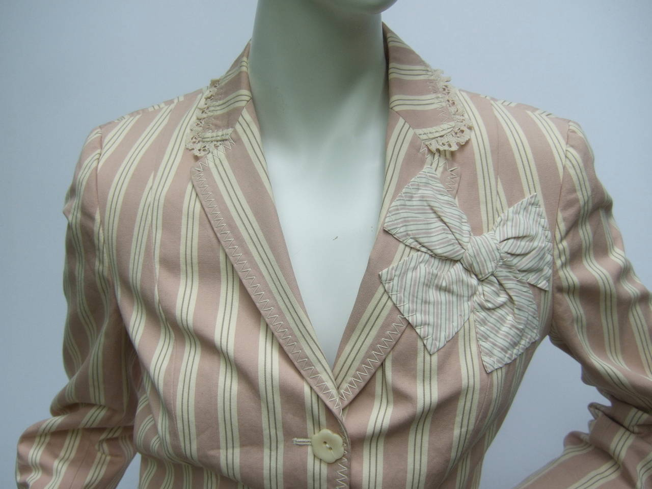Moschino Cotton Awning Striped Jacket US Size 8 For Sale 1