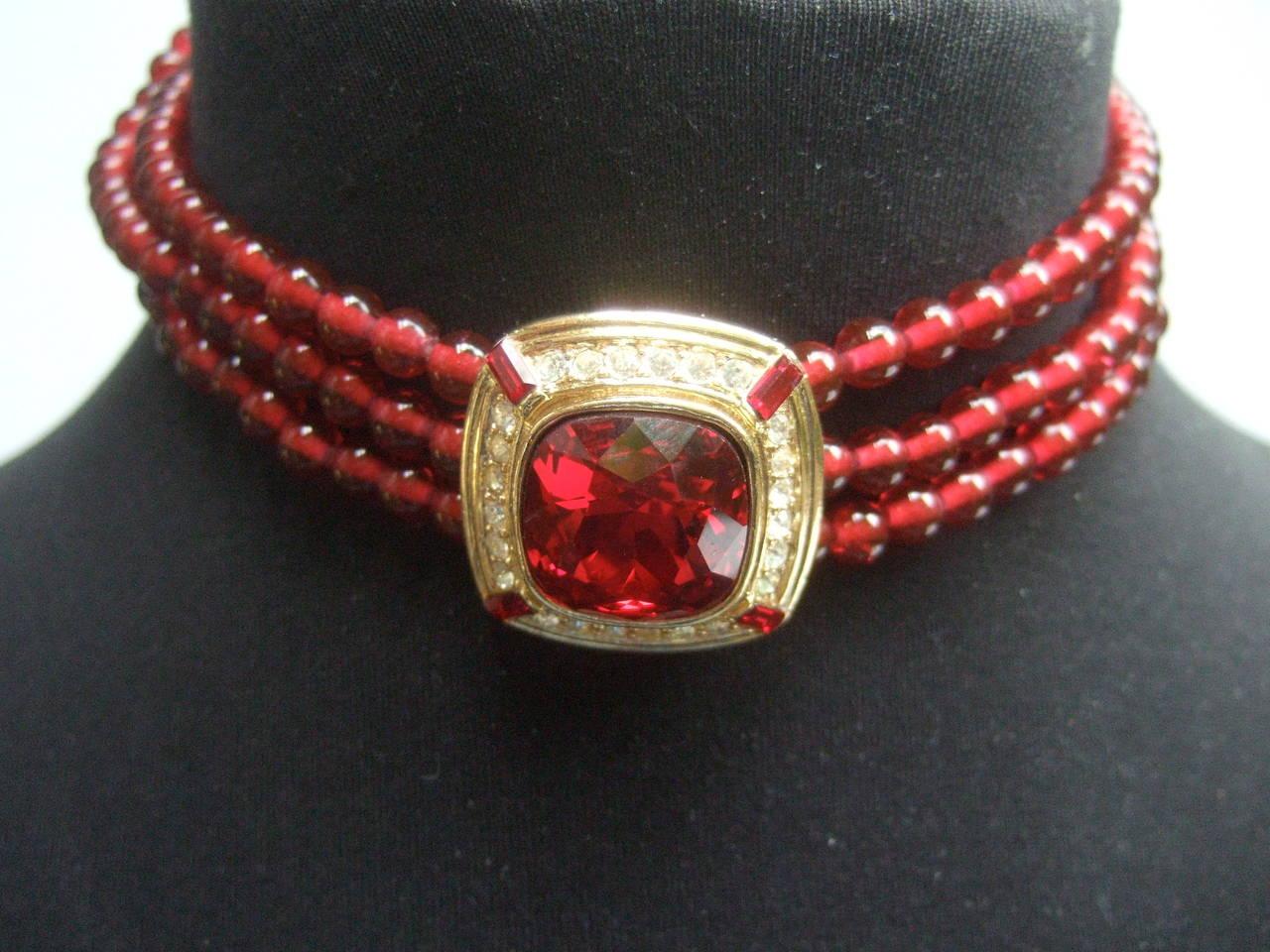 Trifari Elegant Ruby Glass Beaded Choker Necklace c 1980 9