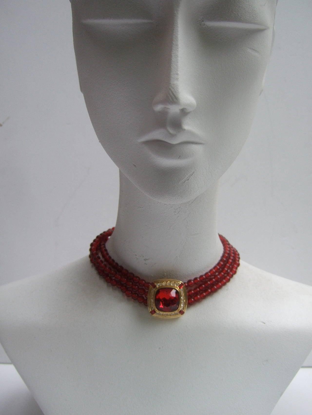 Trifari Elegant Ruby Glass Beaded Choker Necklace c 1980 7