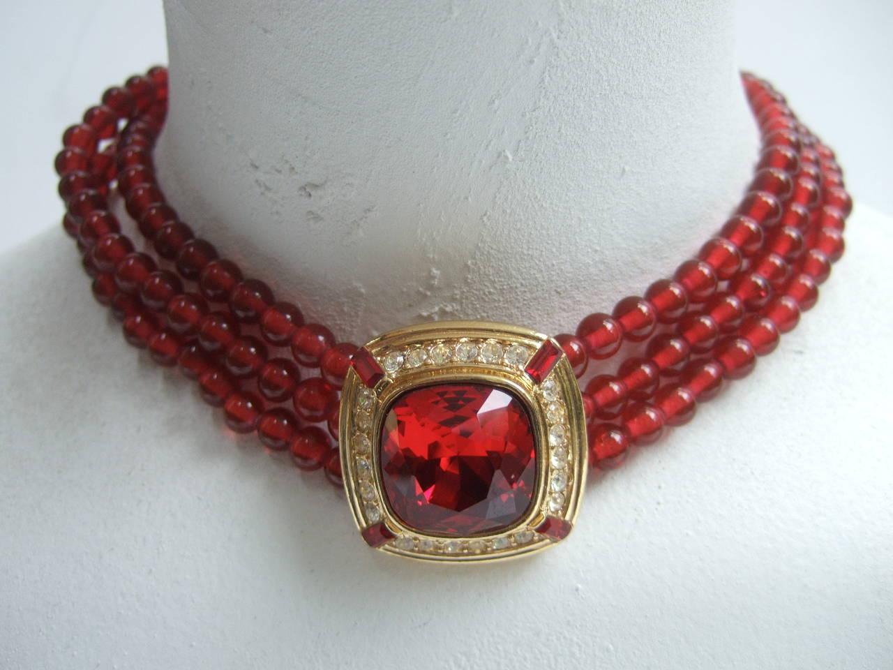 Trifari Elegant Ruby Glass Beaded Choker Necklace c 1980 4