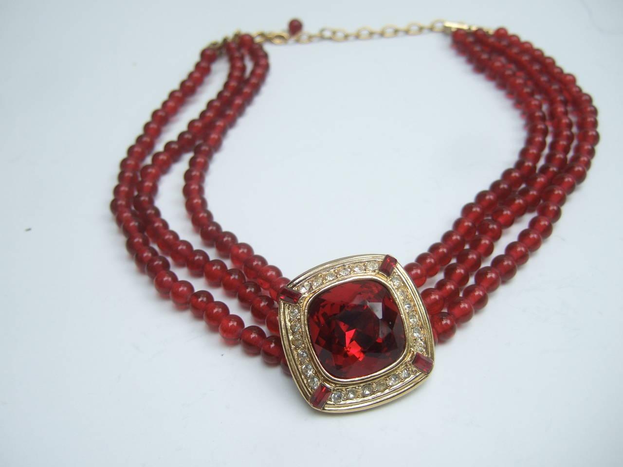 Trifari Elegant Ruby Glass Beaded Choker Necklace c 1980 8