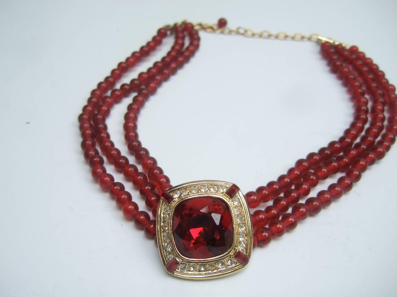 Trifari Elegant Ruby Glass Beaded Choker Necklace c 1980 5