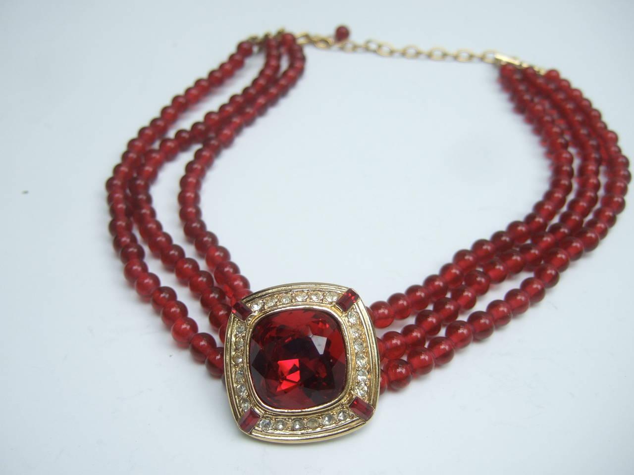Trifari Elegant Ruby Glass Beaded Choker Necklace c 1980 2