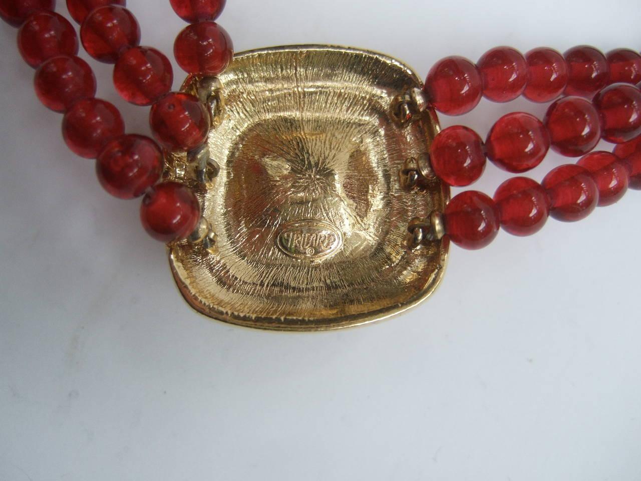 Trifari Elegant Ruby Glass Beaded Choker Necklace c 1980 10