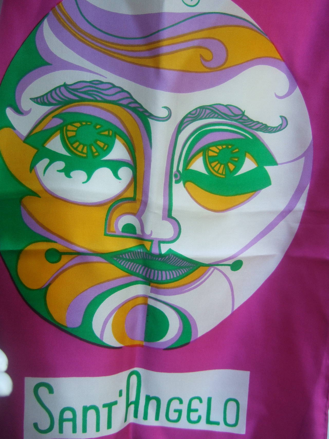 Sant' Angelo Moon & Stars Fuchsia Silk Oblong Scarf c 1970 In Excellent Condition For Sale In Santa Barbara, CA