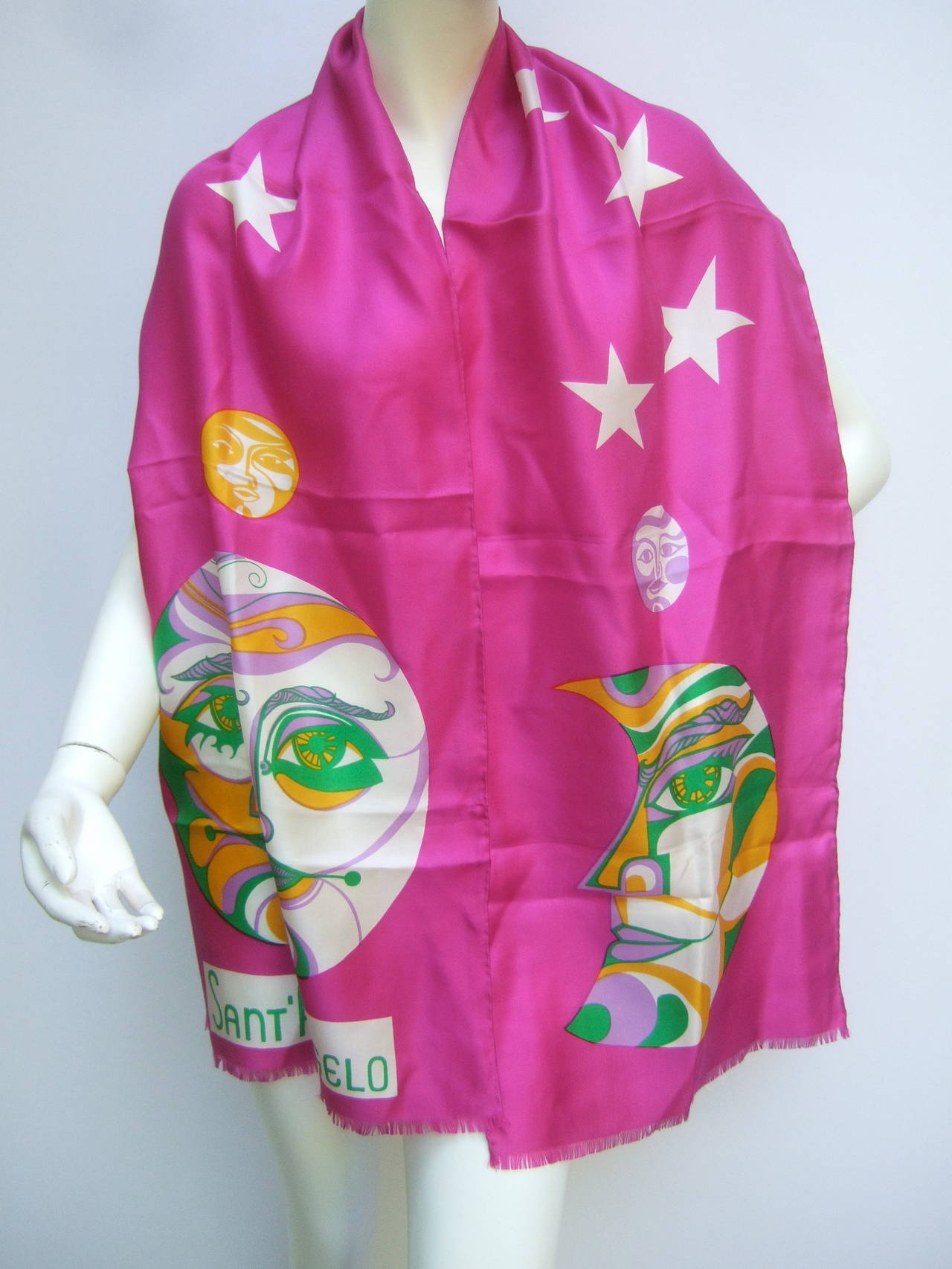 Sant' Angelo Moon & stars fuchsia silk oblong scarf c 1970 The mod designer scarf is designed with a bold figural  full moon & crescent moon. The color block moons are accented with a cluster of twinkling white stars    The long dramatic hand