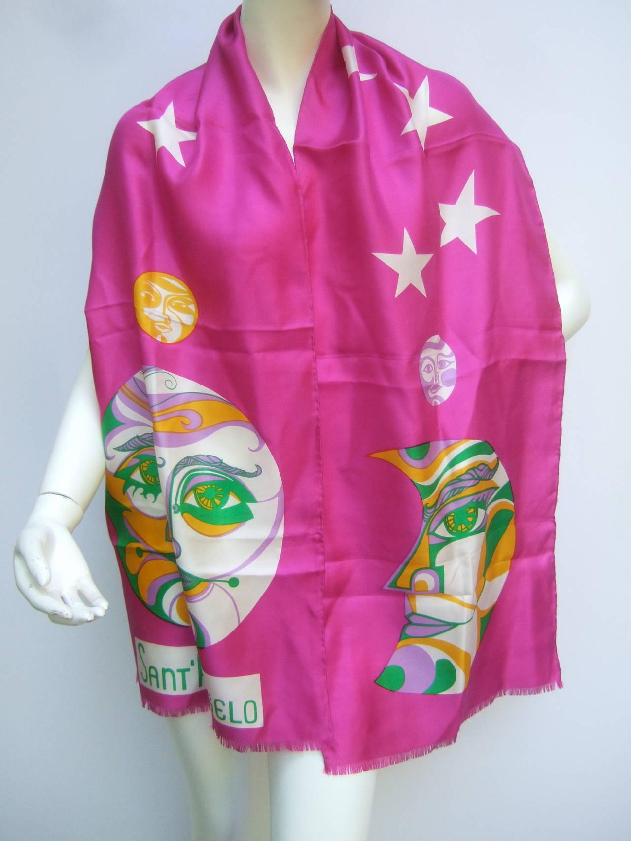 Women's Sant' Angelo Moon & Stars Fuchsia Silk Oblong Scarf c 1970 For Sale