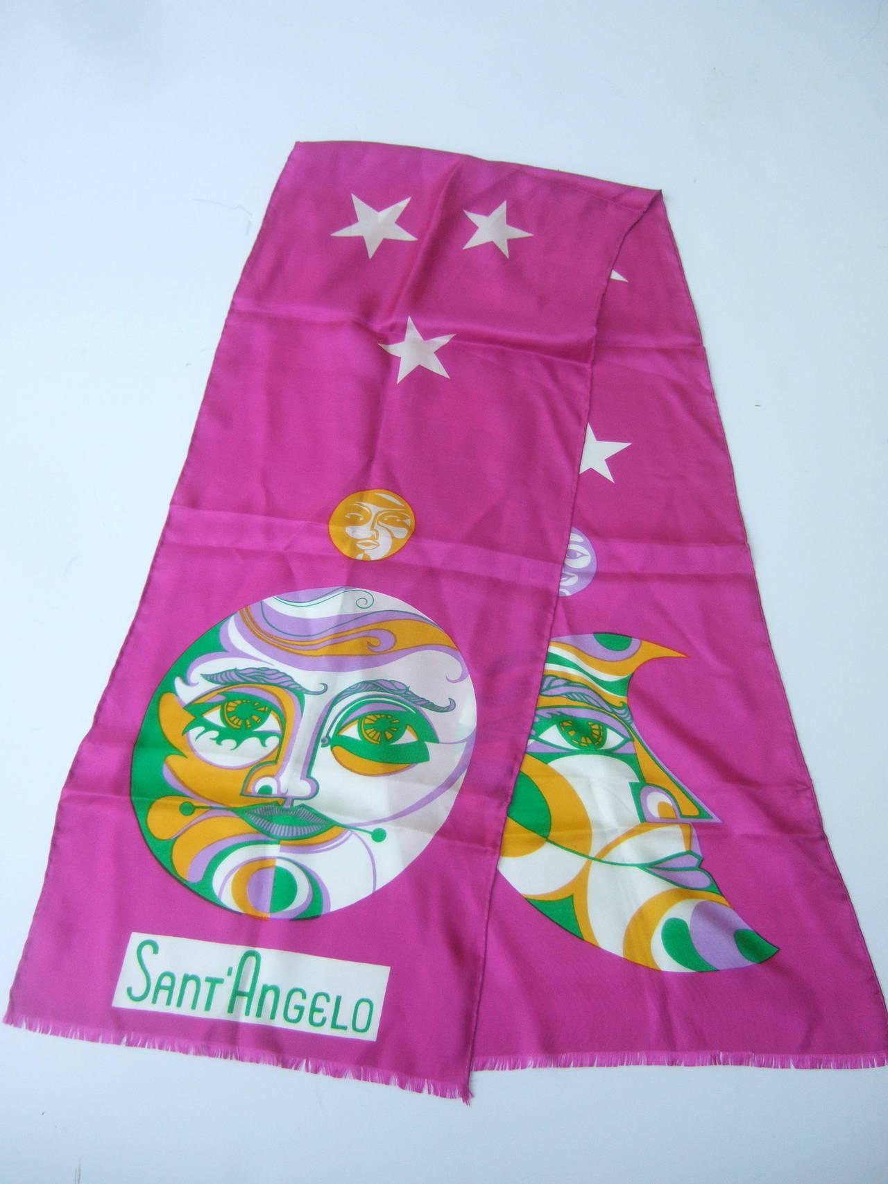 Purple Sant' Angelo Moon & Stars Fuchsia Silk Oblong Scarf c 1970 For Sale