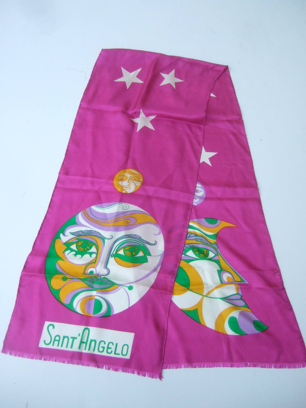 Sant' Angelo Moon & Stars Fuchsia Silk Oblong Scarf c 1970 For Sale 4