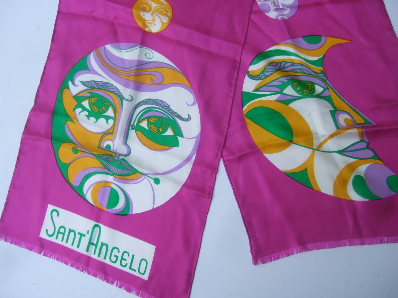 Sant' Angelo Moon & Stars Fuchsia Silk Oblong Scarf c 1970 For Sale 1