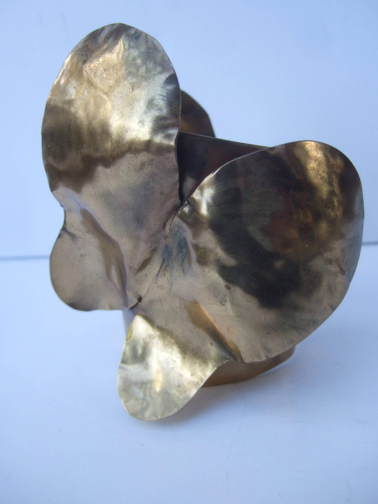 Avant-Garde Massive Gilt Metal Butterfly Cuff Bracelet c 1990 7