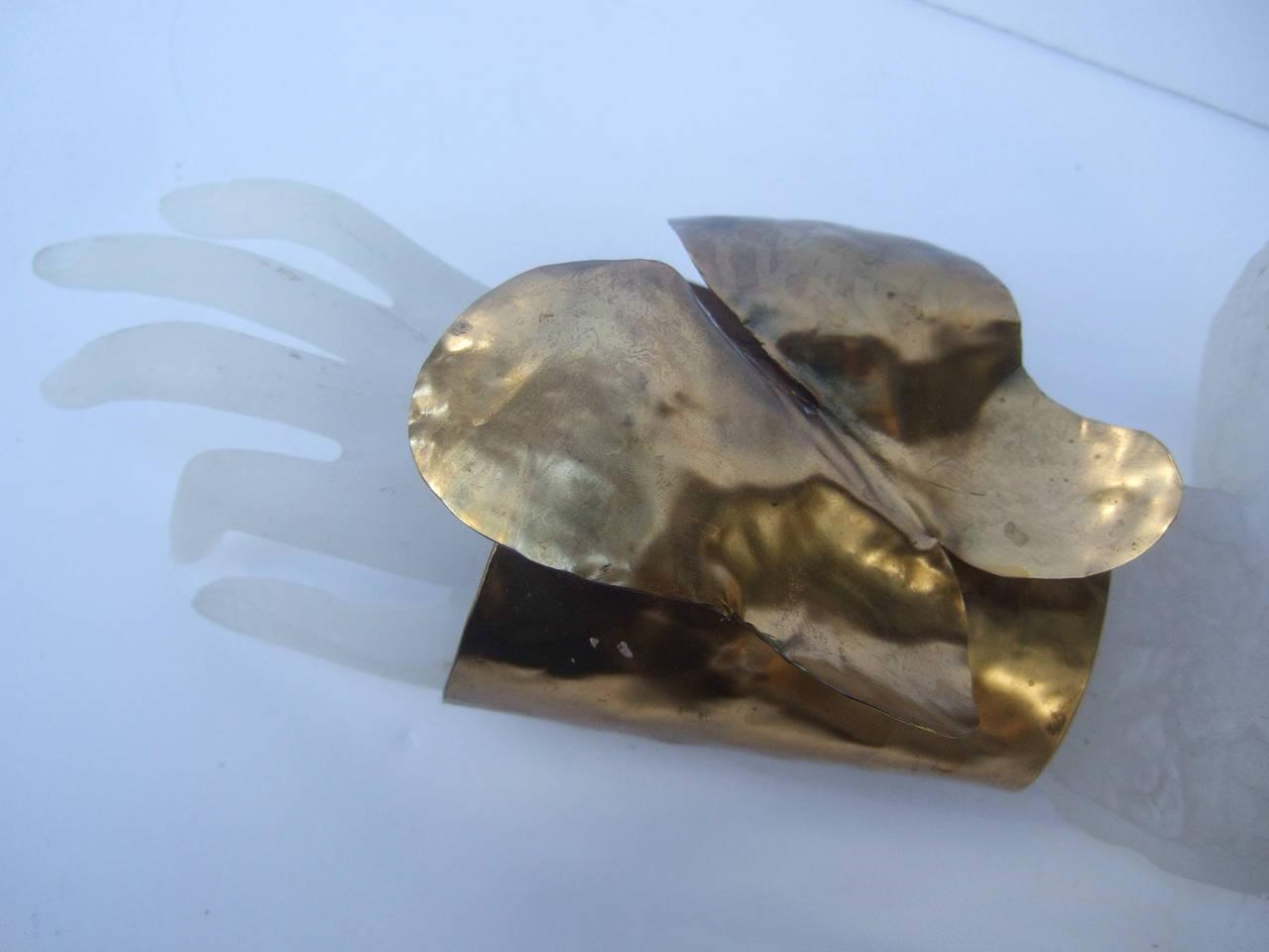 Avant-Garde Massive Gilt Metal Butterfly Cuff Bracelet c 1990 3
