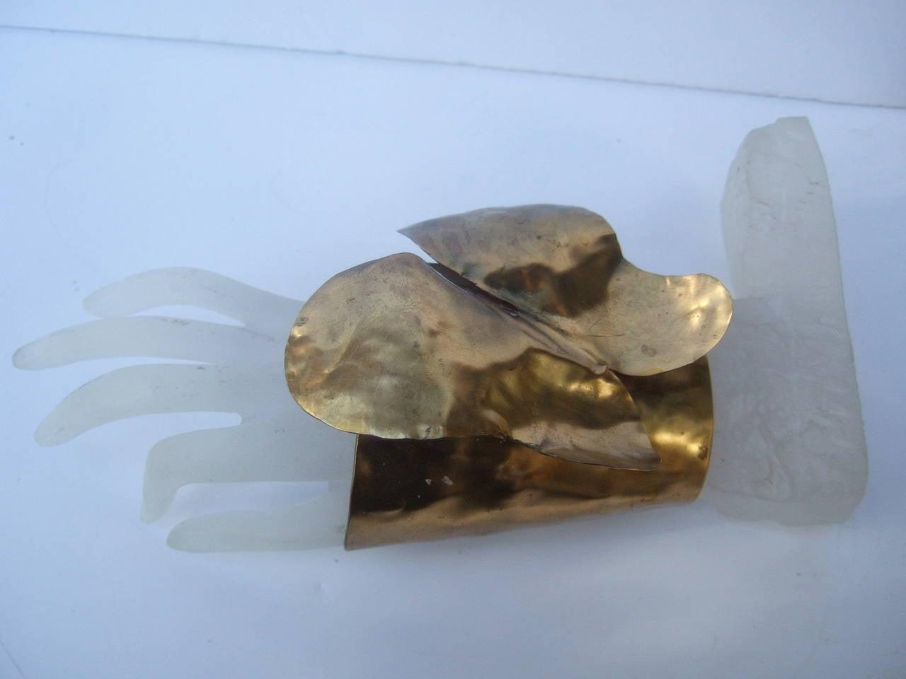 Avant-Garde Massive Gilt Metal Butterfly Cuff Bracelet c 1990 8