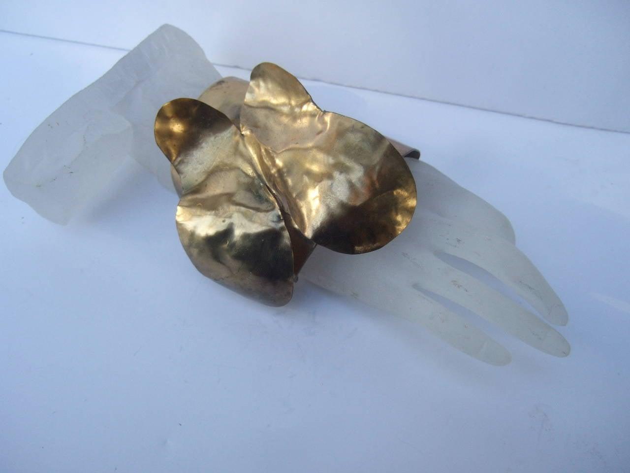 Avant-Garde Massive Gilt Metal Butterfly Cuff Bracelet c 1990 5
