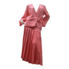 Chanel Vintage Silk Salmon Pink Skirt Suit c 1980