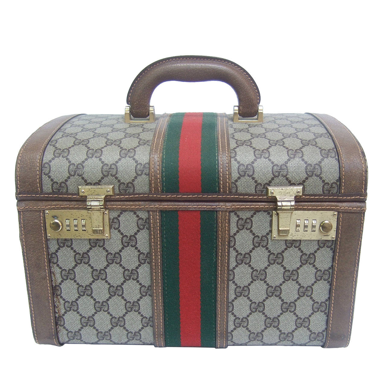 d3867f7f40c RESERVED SALE PENDING Gucci Luxurious Retro Travel Case Made in Italy c  1970s For Sale