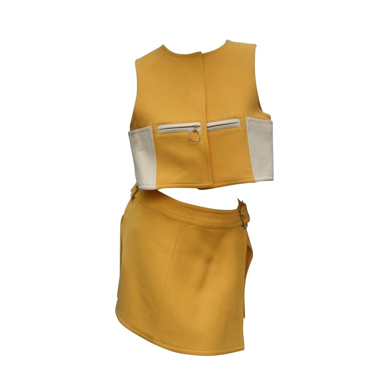 Courreges Paris Mod Wool Vest & Skirt Ensemble c 1970 1