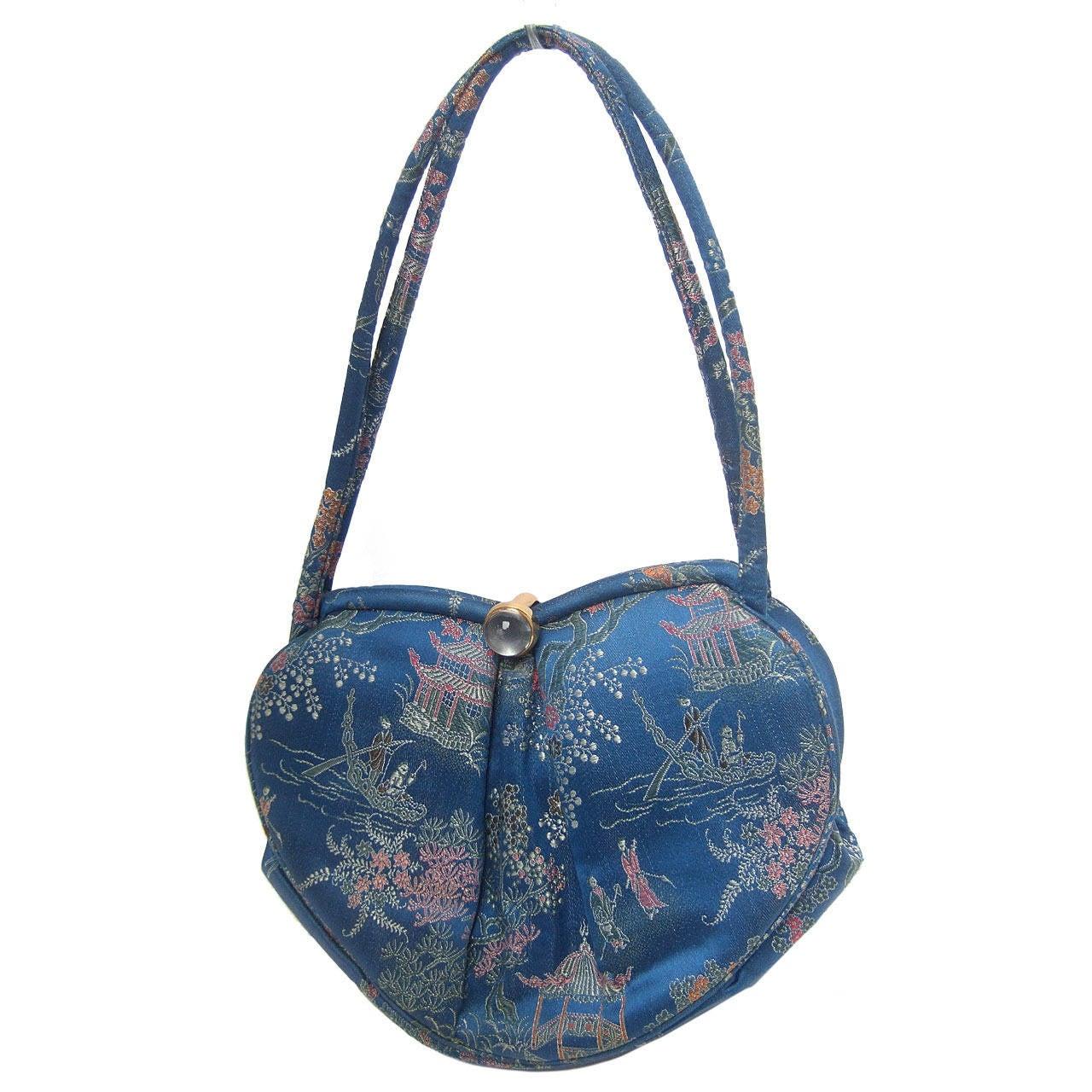 Saks Fifth Avenue Blue Satin Chinoiserie Handbag c 1960 For Sale ...