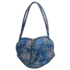 Saks Fifth Avenue Blue Satin Chinoiserie Handbag c 1960