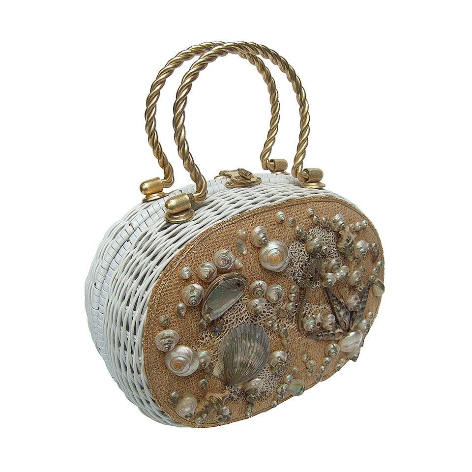 Posh Sea Shell White Wicker Retro Handbag c 1960 1