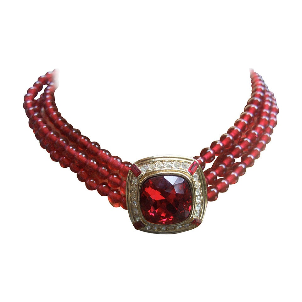 Trifari Elegant Ruby Glass Beaded Choker Necklace c 1980 For Sale