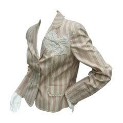 Moschino Cotton Awning Striped Jacket US Size 8