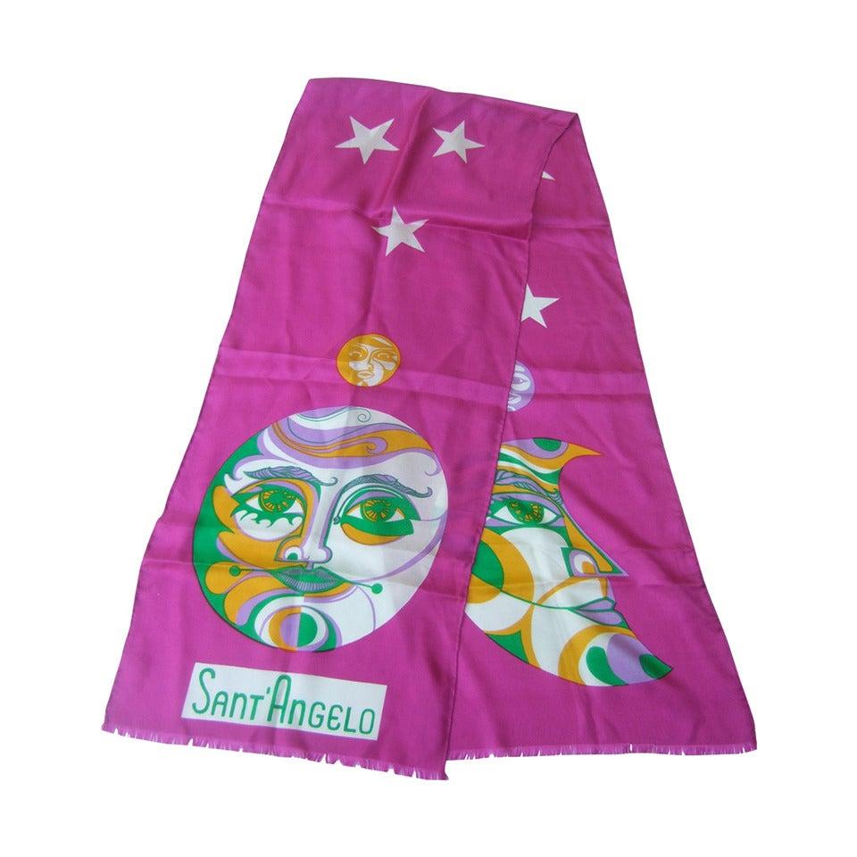 Sant' Angelo Moon & Stars Fuchsia Silk Oblong Scarf c 1970 For Sale