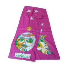 Sant' Angelo Moon & Stars Fuchsia Silk Oblong Scarf c 1970