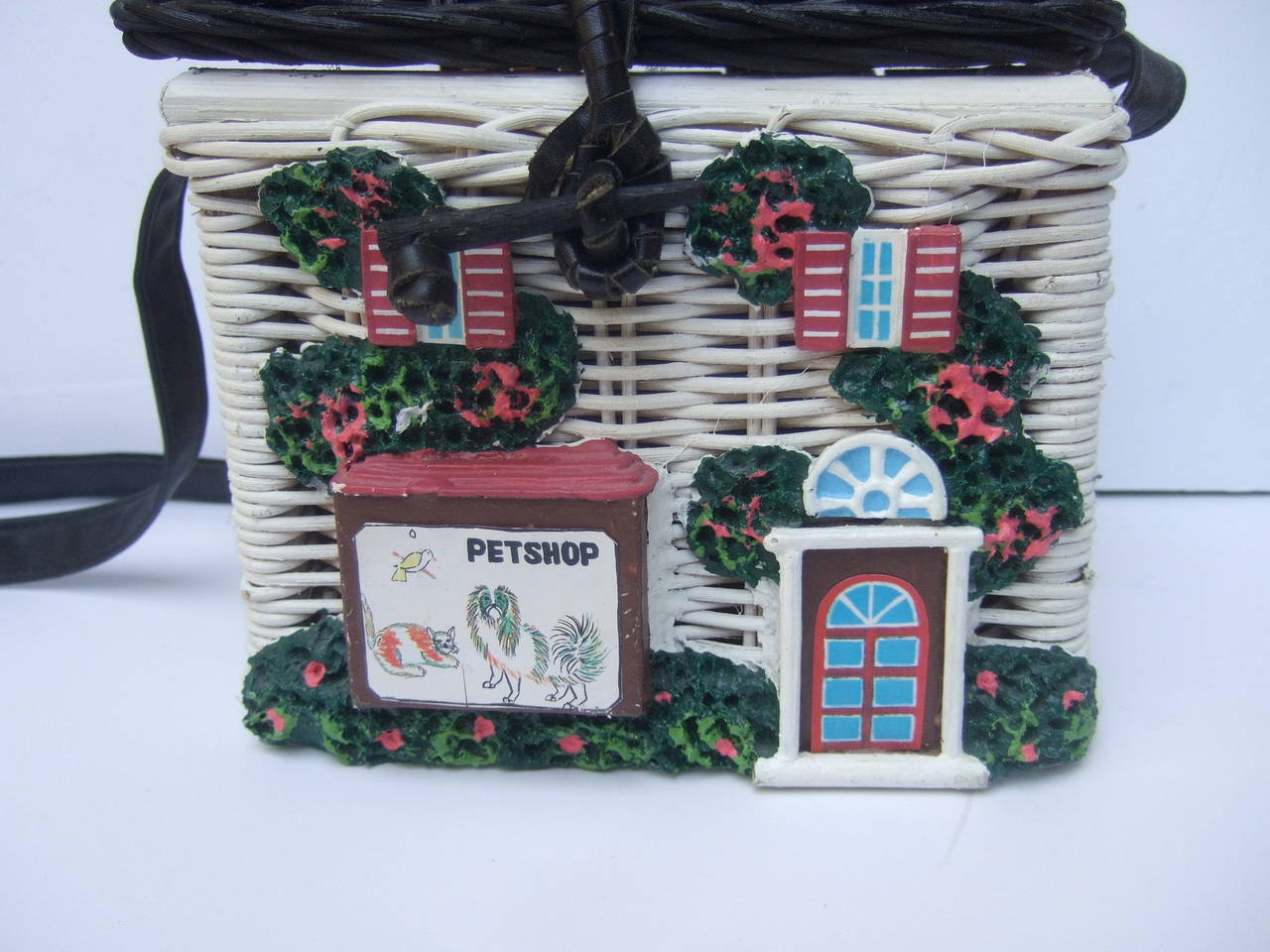 Timmy Woods Beverly Hills Whimsical Wicker House Handbag 4