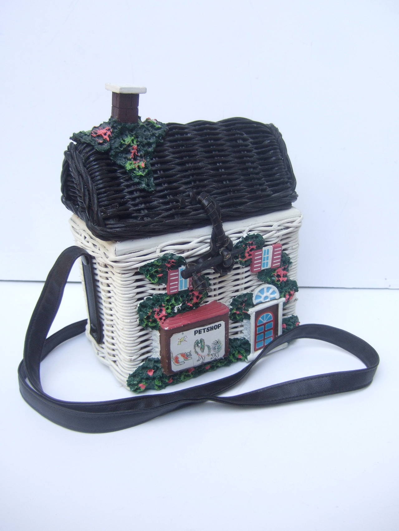 Timmy Woods Beverly Hills Whimsical Wicker House Handbag In Excellent Condition For Santa Barbara