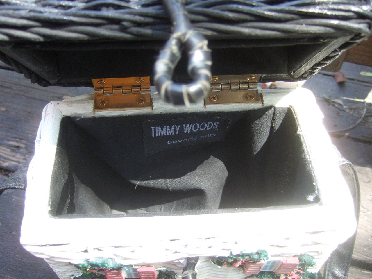 Timmy Woods Beverly Hills Whimsical Wicker House Handbag 10