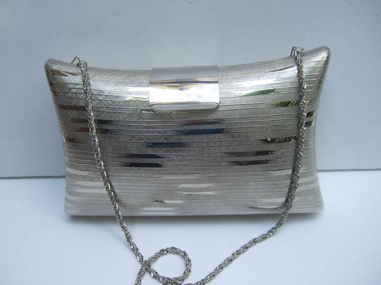 Saks Fifth Avenue Silver Metal Evening Bag Made In Italy C